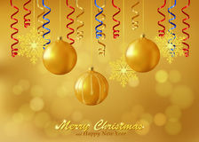 Holiday Gold Background With Christmas Ornaments Royalty Free Stock Photos