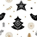 Holiday gold and black seamless pattern Royalty Free Stock Photo