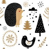 Holiday gold and black seamless pattern Stock Photography