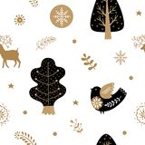 Holiday gold and black seamless pattern Royalty Free Stock Photography
