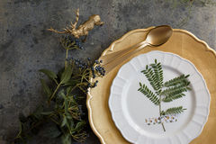 Holiday Gold place setting, napkin brown plaid Royalty Free Stock Photo