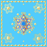 Holiday Gold Stars of David Blue Poster Stock Photos