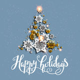 Holiday gold tree Stock Images