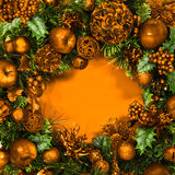 Holiday Gold Wreath Stock Photo