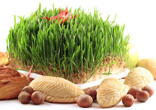 Holiday grass with sweets Stock Images