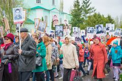 The holiday of the great victory over fascism 1945 immortal regiment. Russia, Chaplygin, may 9, 2017, Ranenburg. The holiday of the great victory over fascism of Royalty Free Stock Photography