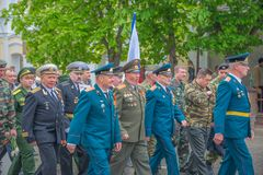 The holiday of the great victory over fascism 1945 immortal regiment. Russia, Chaplygin, may 9, 2017, Ranenburg. The holiday of the great victory over fascism of Stock Photo