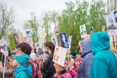 The holiday of the great victory over fascism 1945 immortal regiment. Russia, Chaplygin, may 9, 2017, Ranenburg. The holiday of the great victory over fascism of Stock Images