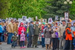 The holiday of the great victory over fascism 1945 immortal regiment. Russia, Chaplygin, may 9, 2017, Ranenburg. The holiday of the great victory over fascism of Stock Photography