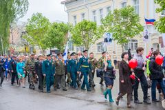 The holiday of the great victory over fascism 1945 immortal regiment. Russia, Chaplygin, may 9, 2017, Ranenburg. The holiday of the great victory over fascism of Royalty Free Stock Images