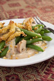 Holiday Green Beans. Green bean casserole - a traditional Thanksgiving side dish. Green beans with cream of mushroom soup and topped with french-fried onions stock photography