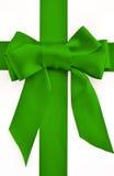 Holiday green bow and ribbon Royalty Free Stock Images
