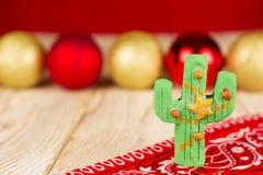 Holiday green cactus on christmas background Stock Image