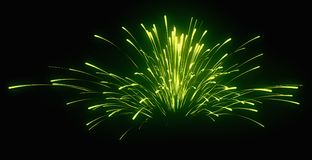 Holiday: green festive fireworks at night. Over black Stock Images
