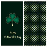 Holiday green set with a postcard with hand drawn silver clover and text happy saint Patrick`s day and clover seamless patt Stock Photography