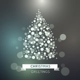 Holiday greeting background with christmas. Christmas greeting with festive bright christmas tree. Christmas tree from light. Vector Illustration Royalty Free Stock Images