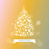 Holiday greeting background with christmas. Christmas greeting with festive bright christmas tree. Christmas tree from light. Stock Image