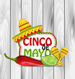 Holiday Greeting Background for Cinco De Mayo. Illustration Holiday Greeting Background for Cinco De Mayo with Chili Pepper, Sombrero Hat, Maracas, Piece of Lime