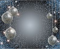 Holiday greeting card with blue sparkles and realistic transparent Christmas ball. New year toy. vector illustration