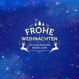 Holiday greeting card concept Merry Christmas and Happy New Year written in German