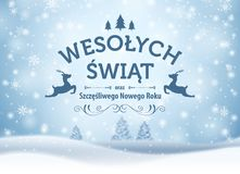 Holiday greeting card concept. Merry Christmas and Happy New Year written in Polish