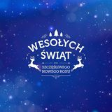 Holiday greeting card concept Merry Christmas and Happy New Year written in Polish