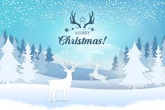Holiday greeting card concept. Merry Christmas. Stylish lettering with a Christmas motif. Winter view landscape with deer, trees and mountains with falling royalty free illustration