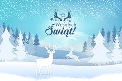 Holiday greeting card concept. Merry Christmas written in Polish
