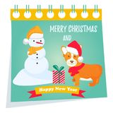 Holiday greeting card with cute corgi dog. Stock Images