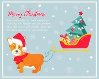 Holiday greeting card with cute corgi dog. Stock Image