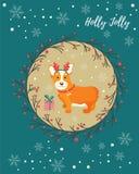 Holiday greeting card with cute corgi dog Royalty Free Stock Image