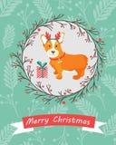 Holiday greeting card with cute corgi dog Royalty Free Stock Photos