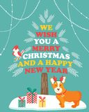Holiday greeting card with cute corgi dog. Stock Photos