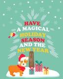 Holiday greeting card with cute corgi dog. Stock Photo