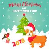 Holiday greeting card with cute corgi dog Stock Photography