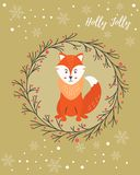 Holiday greeting card with funny fox Royalty Free Stock Images