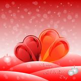 Holiday greeting card with hearts on Valentine's day. February 14 - day for all lovers Royalty Free Stock Image