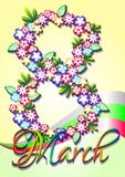 Holiday greeting card on International Women's Day. March 8 Royalty Free Stock Image