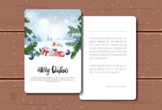 Holiday Greeting Card Merry Christmas Text Over Winter Forest Landscape Background Postcard On Wooden Texture Stock Images