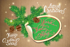 Holiday greeting Card with oval paper frame, canes and fir-tree. Branches. Hand written calligraphic text Merry Christmas and Happy New Year, Warm winter wishes Stock Images