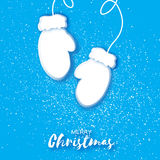 Holiday Greeting card with paper cut white mittens. stock illustration