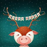 Pig in deer mask. Holiday greeting card or poster pig mask deer horns with Christmas or New Year. Computer graphics stock illustration
