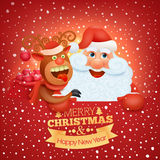 Holiday greeting card with santa claus and reindeer Stock Images