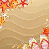 Holiday greeting card with shells Stock Photos
