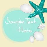 Holiday greeting card with shells and starfishes and place for text. Stock Image