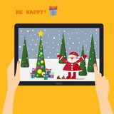 Holiday greeting card with a smiling Santa Stock Photos