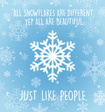 Holiday greeting card with snowflakes on pale blue. Royalty Free Stock Photos
