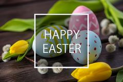 Holiday greeting card with text happy Easter. Beautiful holiday greeting card with text happy Easter Stock Images