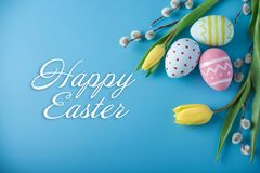 Holiday greeting card with text happy Easter. Beautiful holiday greeting card with text happy Easter Stock Photography