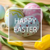 Holiday greeting card with text happy Easter. Beautiful holiday greeting card with text happy Easter royalty free stock images